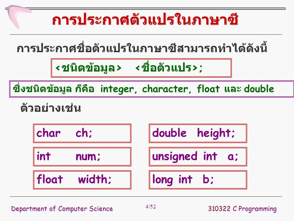 4/52 การประกาศชื่อตัวแปรในภาษาซีสามารถทำได้ดังนี้ 310322 C Programming Department of Computer Science การประกาศตัวแปรในภาษาซี ; ตัวอย่างเช่น char ch;