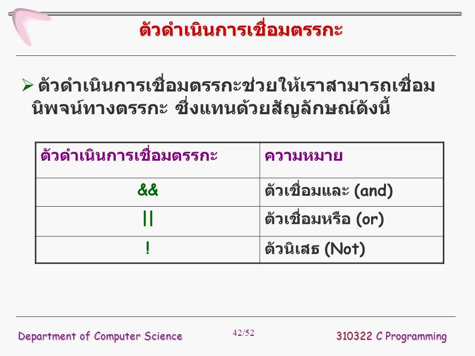 42/52 ตัวดำเนินการเชื่อมตรรกะ 310322 C Programming Department of Computer Science ตัวดำเนินการเชื่อมตรรกะความหมาย && ตัวเชื่อมและ (and) || ตัวเชื่อมหร