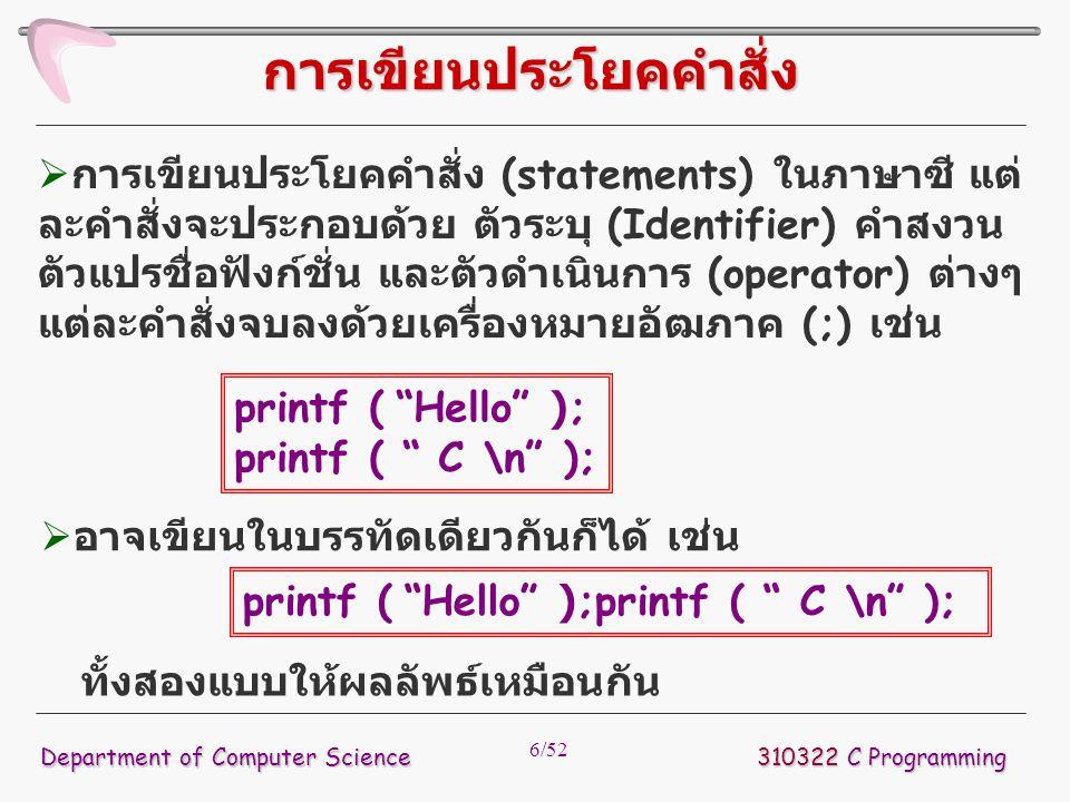 6/52  การเขียนประโยคคำสั่ง (statements) ในภาษาซี แต่ ละคำสั่งจะประกอบด้วย ตัวระบุ (Identifier) คำสงวน ตัวแปรชื่อฟังก์ชั่น และตัวดำเนินการ (operator)