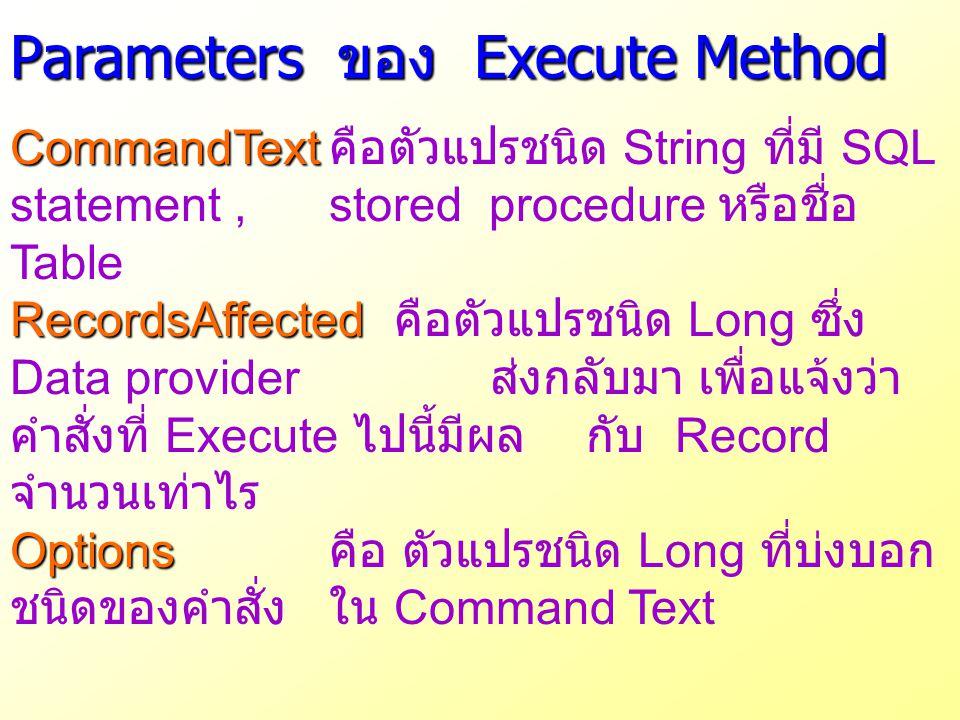 Parameters ของ Execute Method CommandText CommandText คือตัวแปรชนิด String ที่มี SQL statement, stored procedure หรือชื่อ Table RecordsAffected Record