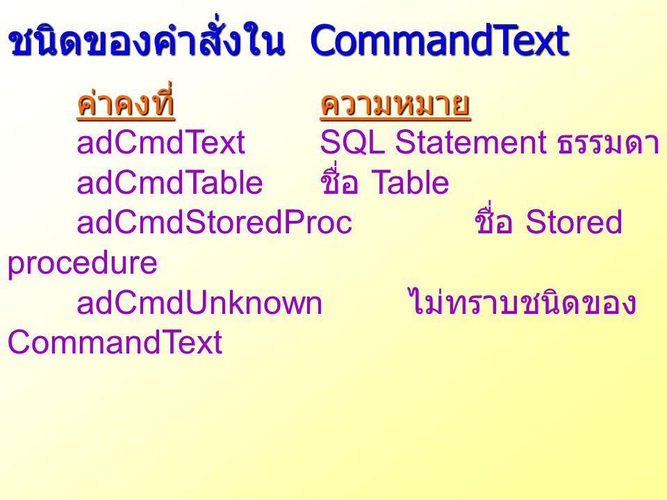 ชนิดของคำสั่งใน CommandText ค่าคงที่ความหมาย adCmdTextSQL Statement ธรรมดา adCmdTable ชื่อ Table adCmdStoredProc ชื่อ Stored procedure adCmdUnknown ไม