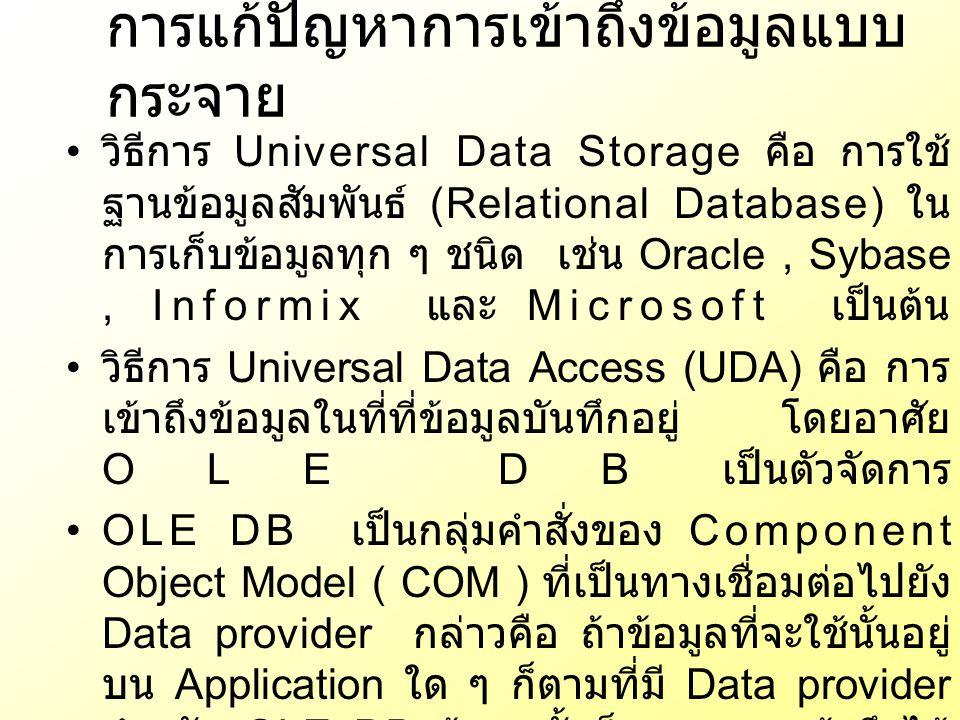 วิธีการ Universal Data Storage คือ การใช้ ฐานข้อมูลสัมพันธ์ (Relational Database) ใน การเก็บข้อมูลทุก ๆ ชนิด เช่น Oracle, Sybase, Informix และ Microso