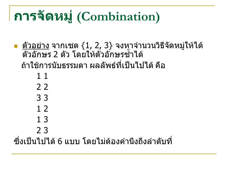 การจัดหมู่ (Combination) ตัวอย่าง จากเซต {1, 2, 3} จงหาจำนวนวิธีจัดหมู่ให้ได้ ตัวอักษร 2 ตัว โดยให้ตัวอักษรซ้ำได้ ถ้าใช้การนับธรรมดา ผลลัพธ์ที่เป็นไปได้ คือ 1 2 3 1 2 1 3 2 3 ซึ่งเป็นไปได้ 6 แบบ โดยไม่ต้องคำนึงถึงลำดับที่
