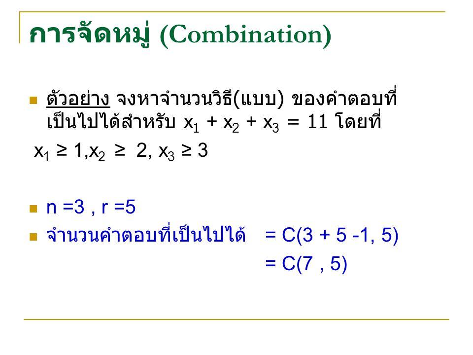 การจัดหมู่ (Combination) ตัวอย่าง จงหาจำนวนวิธี ( แบบ ) ของคำตอบที่ เป็นไปได้สำหรับ x 1 + x 2 + x 3 = 11 โดยที่ x 1 ≥ 1,x 2 ≥ 2, x 3 ≥ 3 n =3, r =5 จำนวนคำตอบที่เป็นไปได้ = C(3 + 5 -1, 5) = C(7, 5)