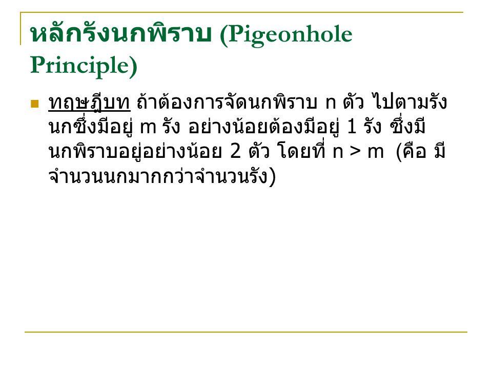 หลักรังนกพิราบ (Pigeonhole Principle) ทฤษฎีบท ถ้าต้องการจัดนกพิราบ n ตัว ไปตามรัง นกซึ่งมีอยู่ m รัง อย่างน้อยต้องมีอยู่ 1 รัง ซึ่งมี นกพิราบอยู่อย่างน้อย 2 ตัว โดยที่ n > m ( คือ มี จำนวนนกมากกว่าจำนวนรัง )