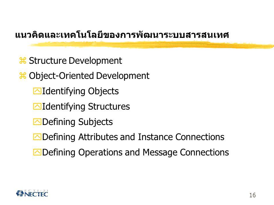 16 แนวคิดและเทคโนโลยีของการพัฒนาระบบสารสนเทศ zStructure Development zObject-Oriented Development yIdentifying Objects yIdentifying Structures yDefinin