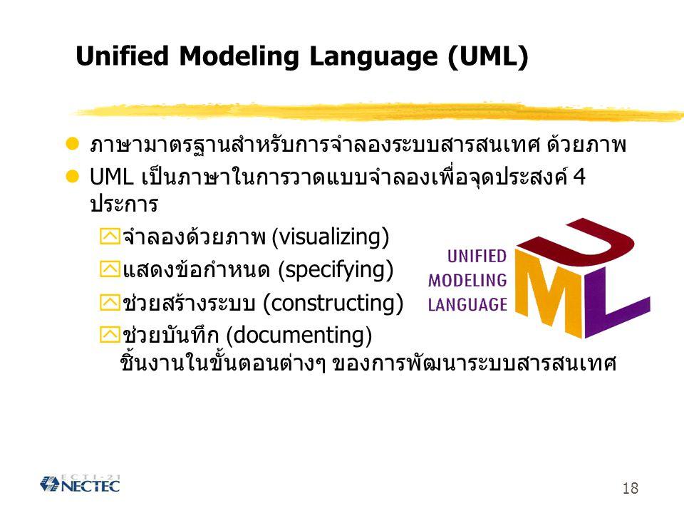 18 Unified Modeling Language (UML) ภาษามาตรฐานสำหรับการจำลองระบบสารสนเทศ ด้วยภาพ UML เป็นภาษาในการวาดแบบจำลองเพื่อจุดประสงค์ 4 ประการ yจำลองด้วยภาพ (v
