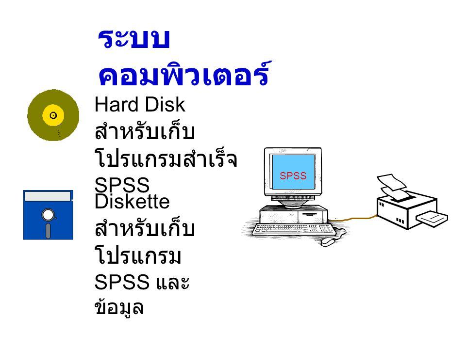 ระบบ คอมพิวเตอร์ Hard Disk สำหรับเก็บ โปรแกรมสำเร็จ SPSS Diskette สำหรับเก็บ โปรแกรม SPSS และ ข้อมูล SPSS