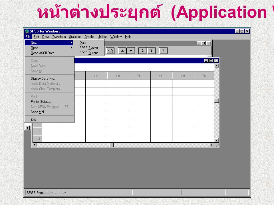 หน้าต่างของโปแกรม SPSS หน้าต่างประยุกต์ (Application Window) หน้าต่างผลลัพธ์ (Output Window) หน้าต่างบรรณาธิกรข้อมูล (Data Editor Window) หน้าต่างสร้า