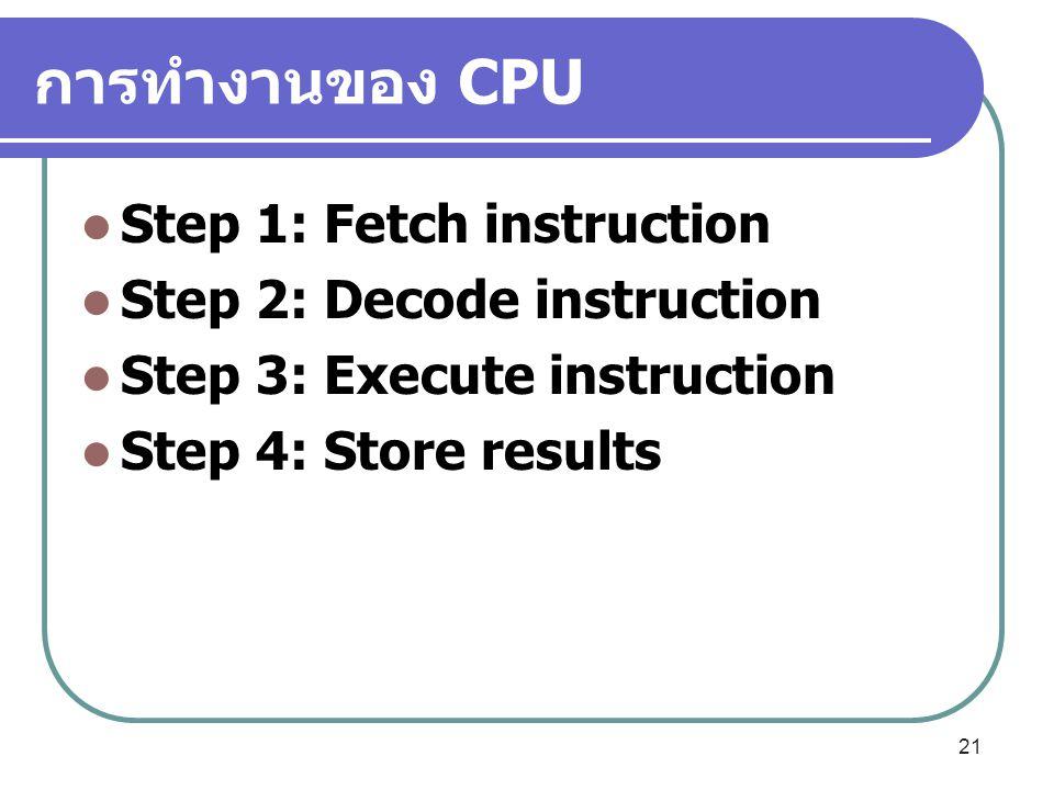การทำงานของ CPU Step 1: Fetch instruction Step 2: Decode instruction Step 3: Execute instruction Step 4: Store results 21