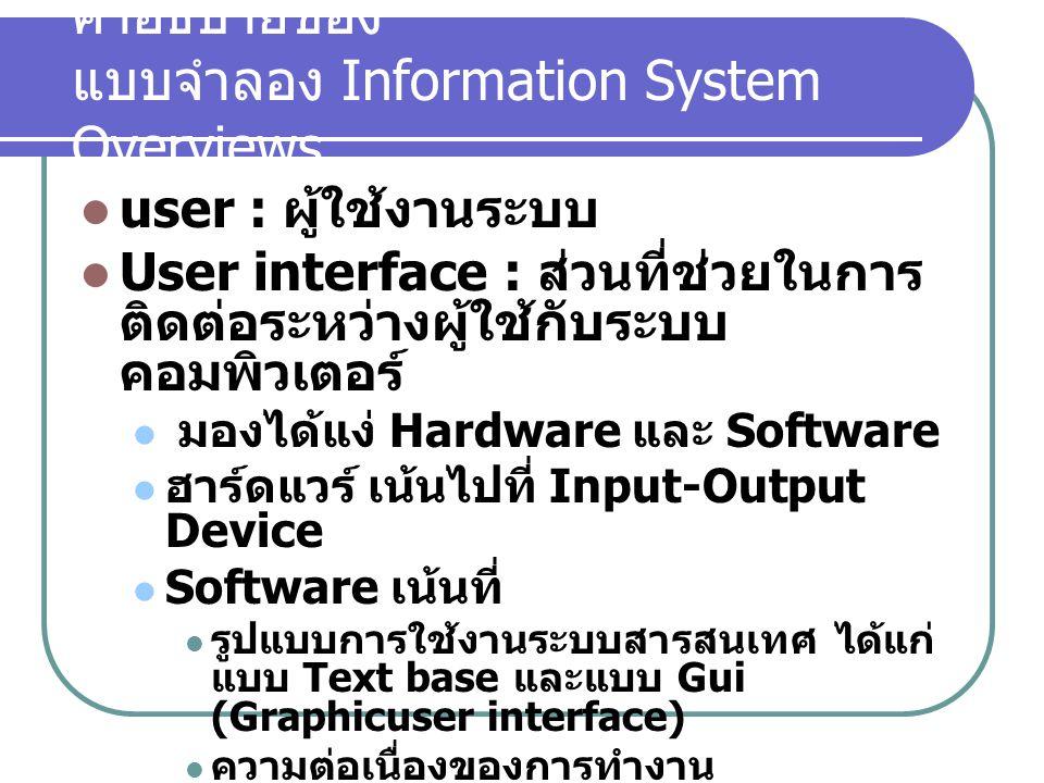 คำอธิบายของ แบบจำลอง Information System Overviews user : ผู้ใช้งานระบบ User interface : ส่วนที่ช่วยในการ ติดต่อระหว่างผู้ใช้กับระบบ คอมพิวเตอร์ มองได้