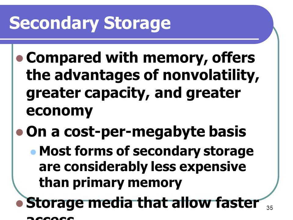 35 Secondary Storage Compared with memory, offers the advantages of nonvolatility, greater capacity, and greater economy On a cost-per-megabyte basis