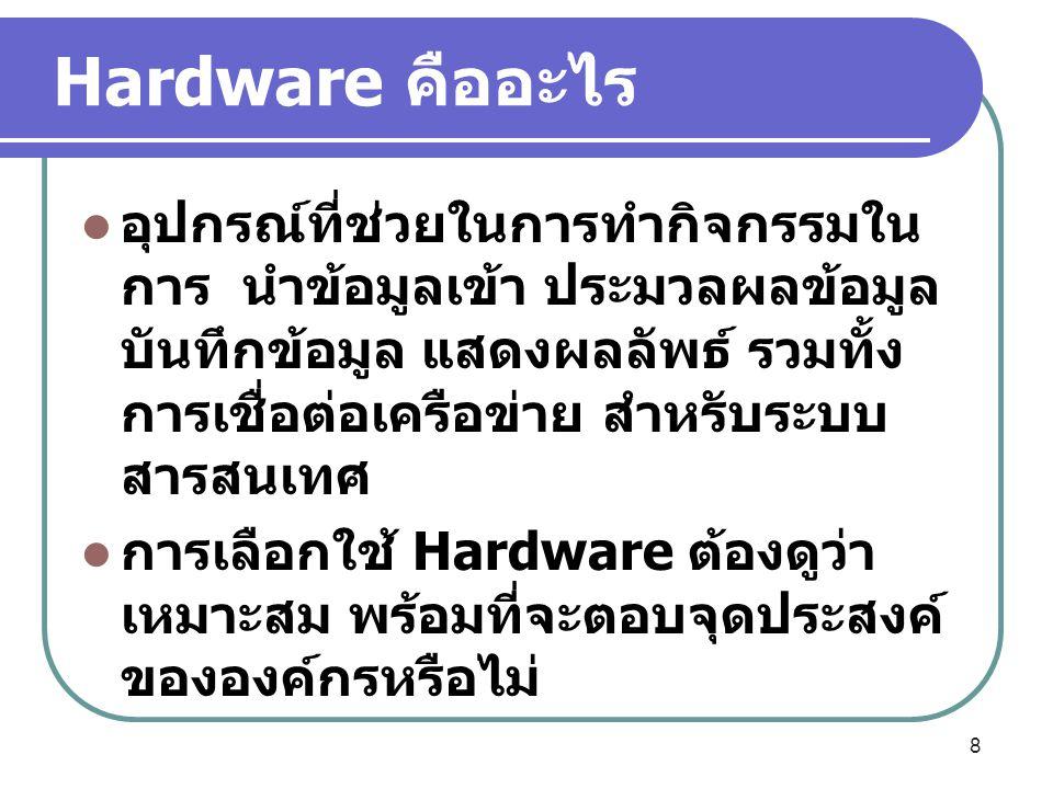 Hardware คืออะไร อุปกรณ์ที่ช่วยในการทำกิจกรรมใน การ นำข้อมูลเข้า ประมวลผลข้อมูล บันทึกข้อมูล แสดงผลลัพธ์ รวมทั้ง การเชื่อต่อเครือข่าย สำหรับระบบ สารสน