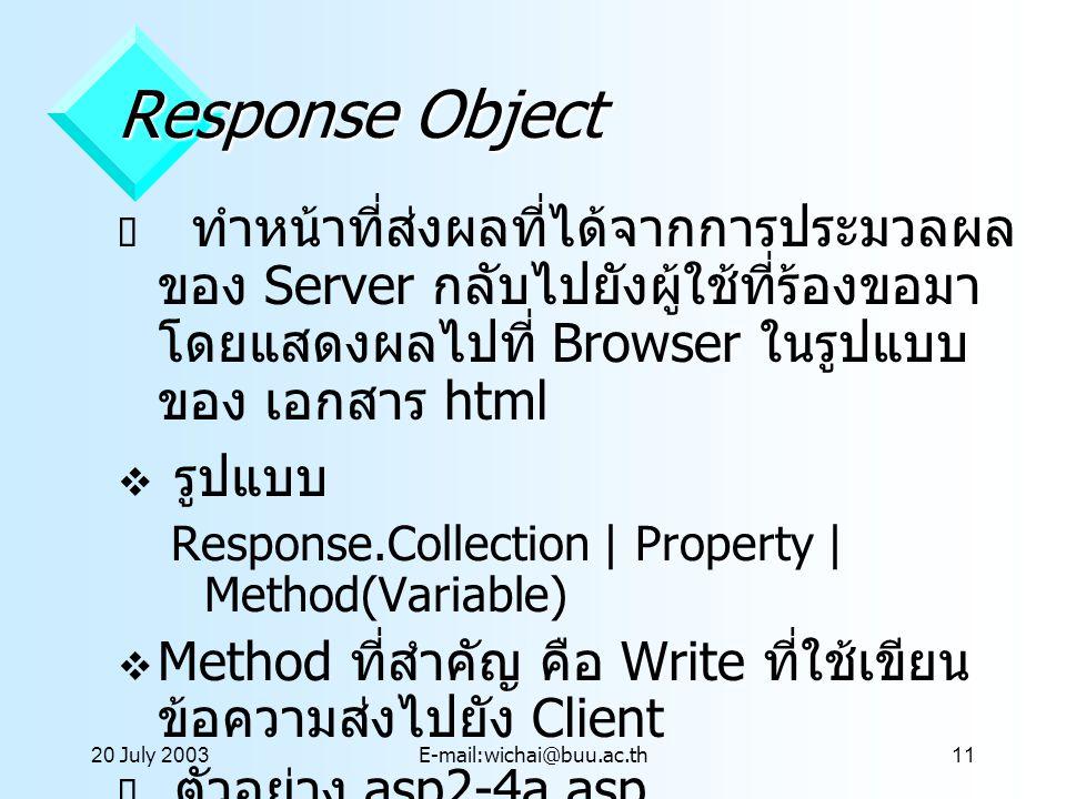 20 July 2003E-mail:wichai@buu.ac.th11 Response Object  ทำหน้าที่ส่งผลที่ได้จากการประมวลผล ของ Server กลับไปยังผู้ใช้ที่ร้องขอมา โดยแสดงผลไปที่ Browse