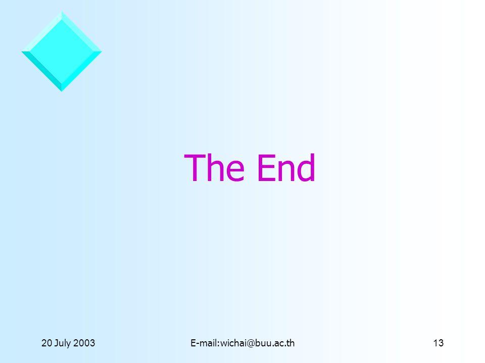 20 July 2003E-mail:wichai@buu.ac.th13 The End