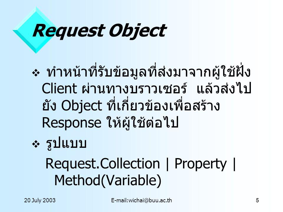 20 July 2003E-mail:wichai@buu.ac.th5 Request Object  ทำหน้าที่รับข้อมูลที่ส่งมาจากผู้ใช้ฝั่ง Client ผ่านทางบราวเซอร์ แล้วส่งไป ยัง Object ที่เกี่ยวข้