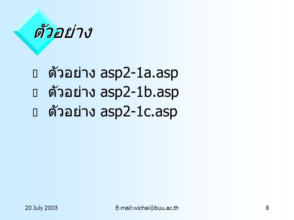 20 July 2003E-mail:wichai@buu.ac.th9 Form Object  ทำหน้าที่รับข้อมูลจาก Form ที่ กำหนดการส่งแบบ post  รูปแบบ Request.Form(Element) เมื่อ Element เป็น Argument ที่เป็นชื่อตัว แปรที่ส่งจาก Form ( อยุ่ในเครื่องหมาย )  ตัวอย่าง asp2-2a.asp