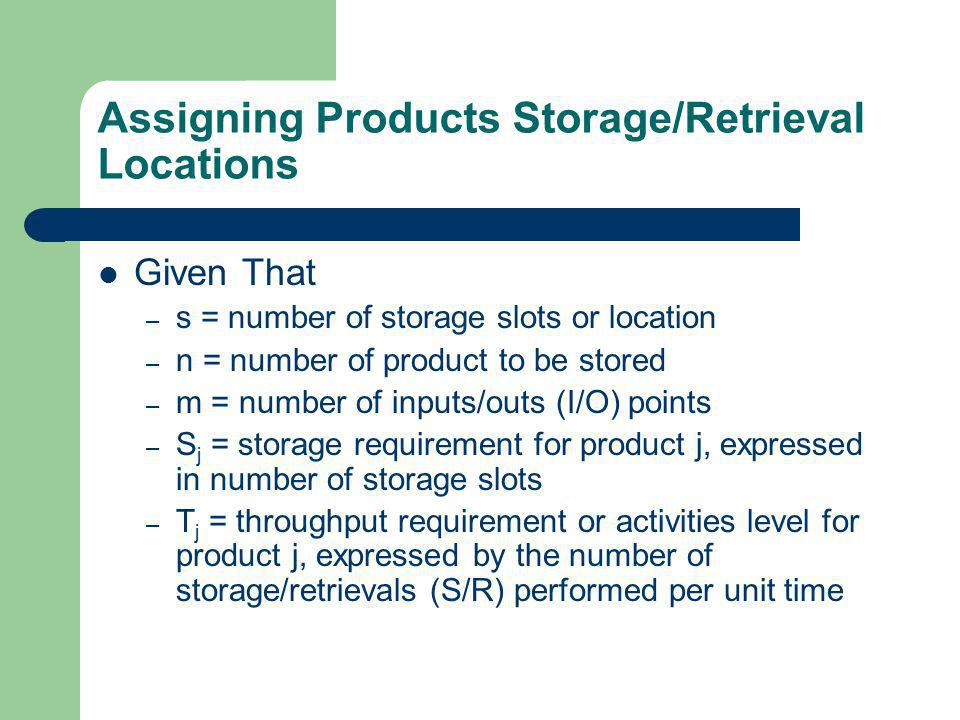Assigning Products Storage/Retrieval Locations Given That – s = number of storage slots or location – n = number of product to be stored – m = number of inputs/outs (I/O) points – S j = storage requirement for product j, expressed in number of storage slots – T j = throughput requirement or activities level for product j, expressed by the number of storage/retrievals (S/R) performed per unit time