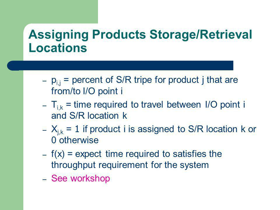 Assigning Products Storage/Retrieval Locations – p i,j = percent of S/R tripe for product j that are from/to I/O point i – T i,k = time required to travel between I/O point i and S/R location k – X j,k = 1 if product i is assigned to S/R location k or 0 otherwise – f(x) = expect time required to satisfies the throughput requirement for the system – See workshop