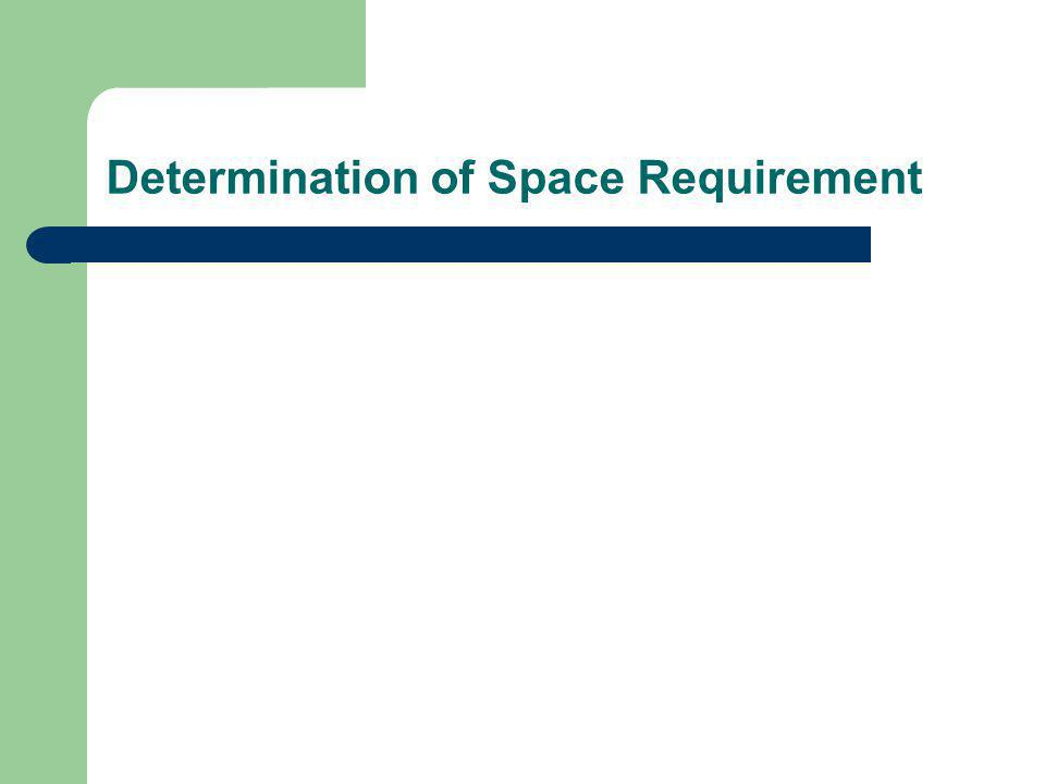 Space Requirement Cost-based Mathematical model is needed, (example) Conditions: – There are fixed cost C o for owned storage Q j – The operating cost for owned storage is C 1,t per space period – If owned storage is less than demand, the excess requirement can be leased at an operating cost of C 2,t per space period