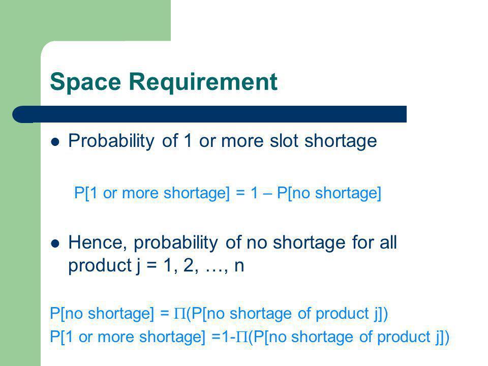 Space Requirement Service Level – จากทฤษฎีความน่าจะเป็น เมื่อกำหนดให้ Z แทนค่ามาตรฐานของตัวแปรสุ่มที่แจกแจงแบบปกติมาตรฐาน มีค่าเฉลี่ย และค่าเบี่ยงเบนมาตรฐาน เท่ากับ 0 และ 1 ตามลำดับ  แทนระดับบริการ (service level) ที่ต้องการ