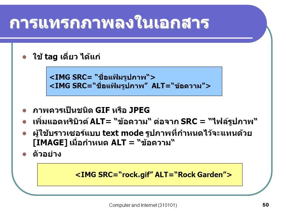 "Computer and Internet (310101)50 การแทรกภาพลงในเอกสาร ใช้ tag เดี่ยว ได้แก่ ภาพควรเป็นชนิด GIF หรือ JPEG เพิ่มแอตทริบิวต์ ALT= ""ข้อความ"" ต่อจาก SRC ="
