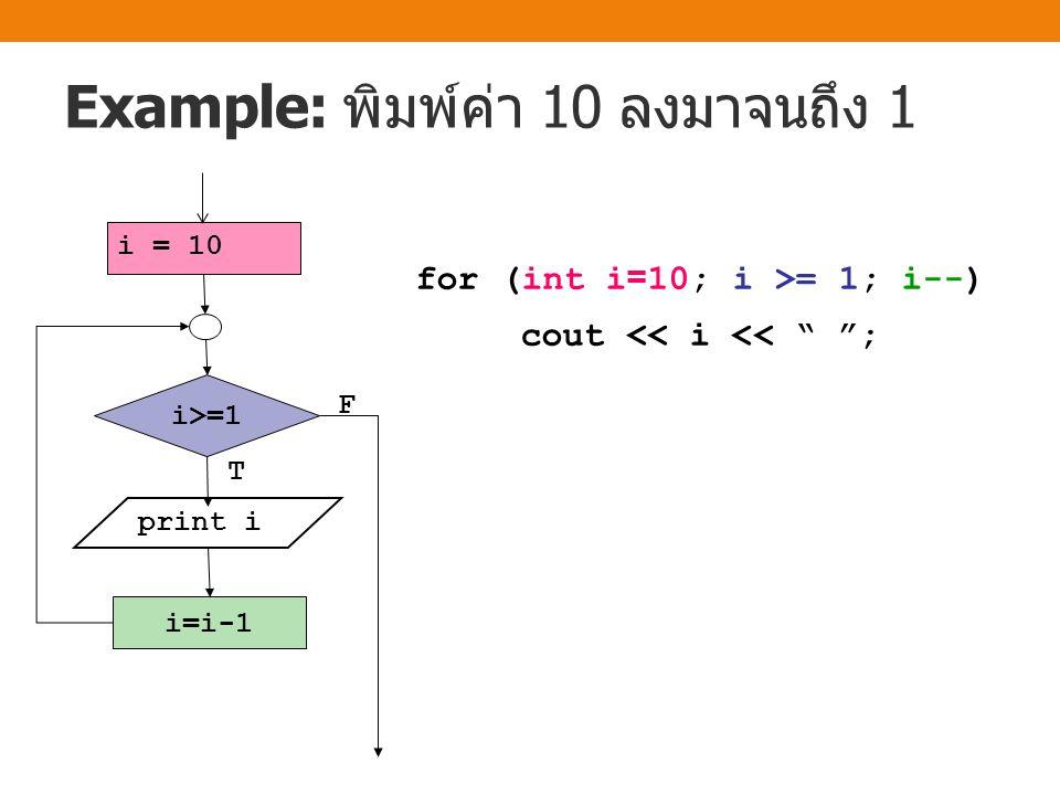 Example: พิมพ์ค่า 10 ลงมาจนถึง 1 i = 10 print i i=i-1 T F i>=1 for (int i=10; i >= 1; i--) cout << i << ;