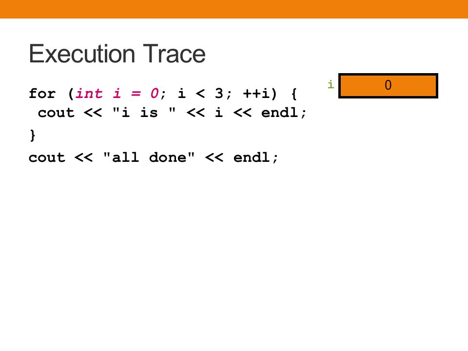 Execution Trace for (int i = 0; i < 3; ++i) { cout << i is << i << endl; } cout << all done << endl; i is 0 i is 1 i is 2 i 2