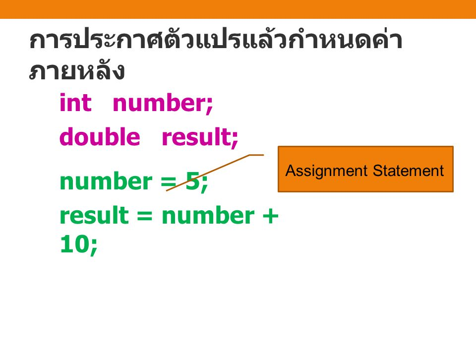 การประกาศตัวแปรแล้วกำหนดค่า ภายหลัง int number; double result; number = 5; result = number + 10; Assignment Statement