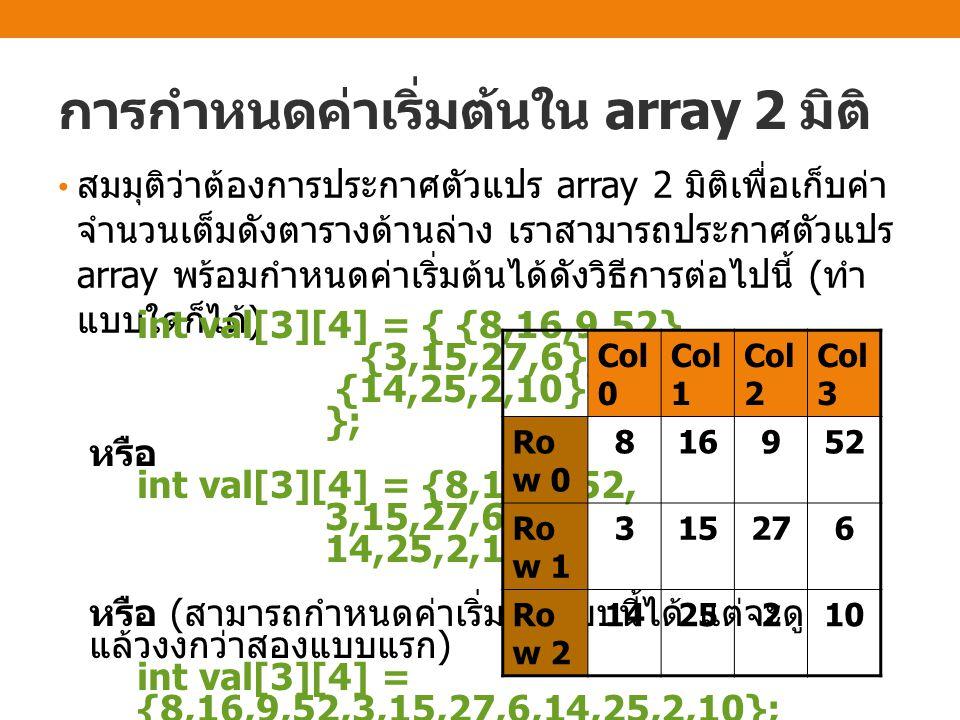 การกำหนดค่าใน array 2 มิติ เราสามารถกำหนดค่าให้กับสมาชิกแต่ละตัวใน array 2 มิติ ได้โดยการระบุตำแหน่งแถวและ คอลัมน์ภายในเครื่องหมายวงเล็บสี่เหลี่ยม [ ] [ ] int A[2][3]; // ประกาศตัวแปร array 2 มิติที่มี 3 แถว 4 คอลัมน์ A[0][0] = 1; A[0][1] = 2; A[0][2] = 3; A[1][0] = 4; A[1][1] = 5; A[1][2] = 6; 123 456 ค่าที่ถูกเก็บใน array A: