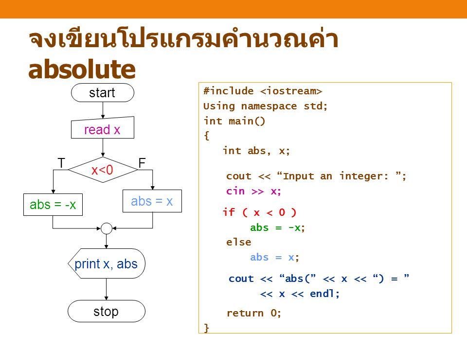 จงเขียนโปรแกรมคำนวณค่า absolute start stop read x x<0 abs = -x abs = x print x, abs TF #include Using namespace std; int main() { int abs, x; cout << Input an integer: ; cin >> x; if ( x < 0 ) abs = -x; else abs = x; cout << abs( << x << ) = << x << endl; return 0; }