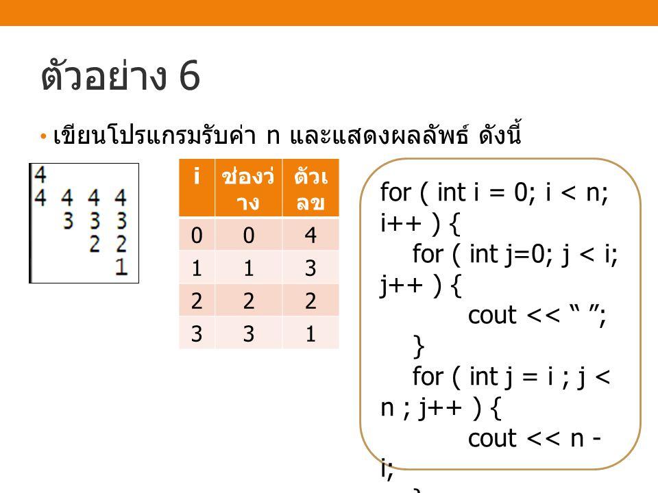 """ตัวอย่าง 6 เขียนโปรแกรมรับค่า n และแสดงผลลัพธ์ ดังนี้ for ( int i = 0; i < n; i++ ) { for ( int j=0; j < i; j++ ) { cout << """" """"; } for ( int j = i ; j"""