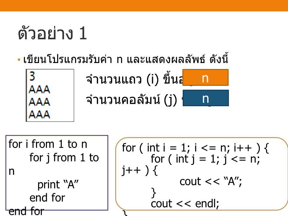 ตัวอย่าง 1 เขียนโปรแกรมรับค่า n และแสดงผลลัพธ์ ดังนี้ จำนวนแถว (i) ขึ้นอยู่กับ จำนวนคอลัมน์ (j) ขึ้นอยู่กับ n n for ( int i = 1; i <= n; i++ ) { for (