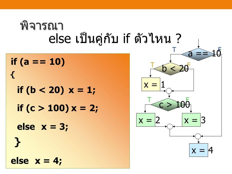 if (a == 10) { if (b < 20) x = 1; if (c > 100) x = 2; else x = 3; } else x = 4; พิจารณา else เป็นคู่กับ if ตัวไหน ? TF T F a == 10 T F c > 100 x = 2x