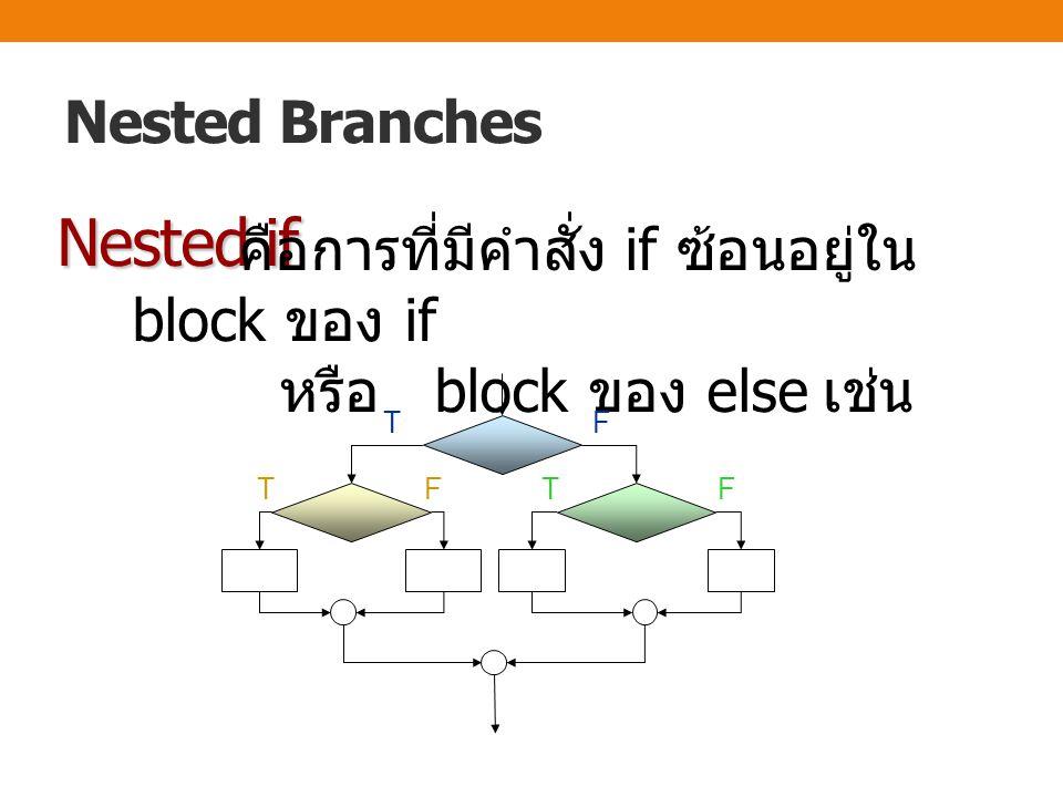 Nested Branches Nested if คือการที่มีคำสั่ง if ซ้อนอยู่ใน block ของ if หรือ block ของ else เช่น TF TFTF