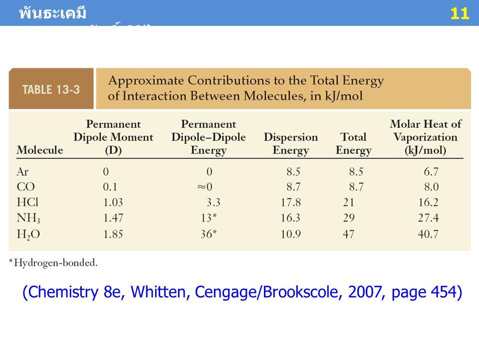 พันธะเคมี ผศ. ดร. สมศักดิ์ ศิริไชย 11 (Chemistry 8e, Whitten, Cengage/Brookscole, 2007, page 454)