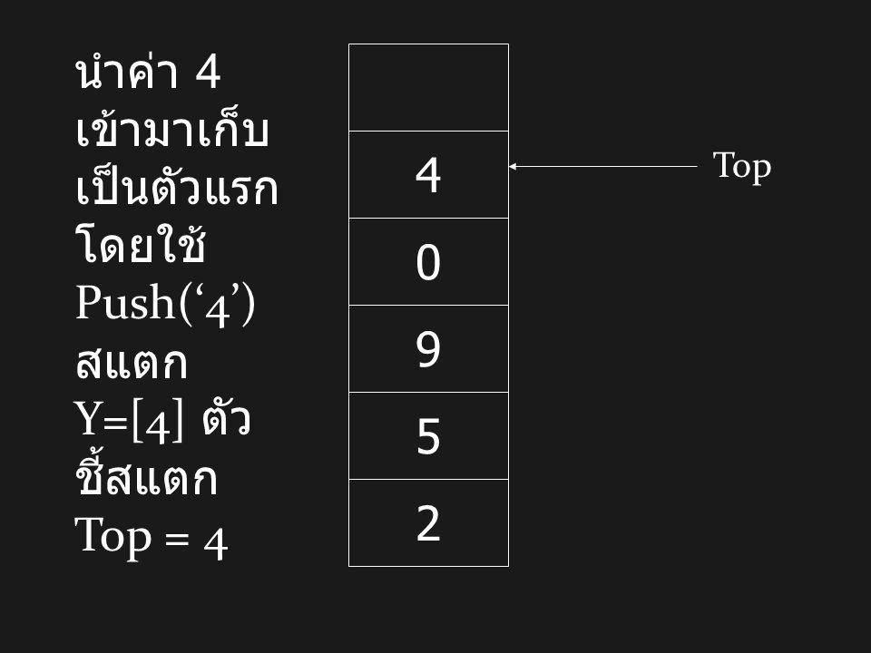 2 5 9 0 4 นำค่า 4 เข้ามาเก็บ เป็นตัวแรก โดยใช้ Push('4') สแตก Y=[4] ตัว ชี้สแตก Top = 4 Top