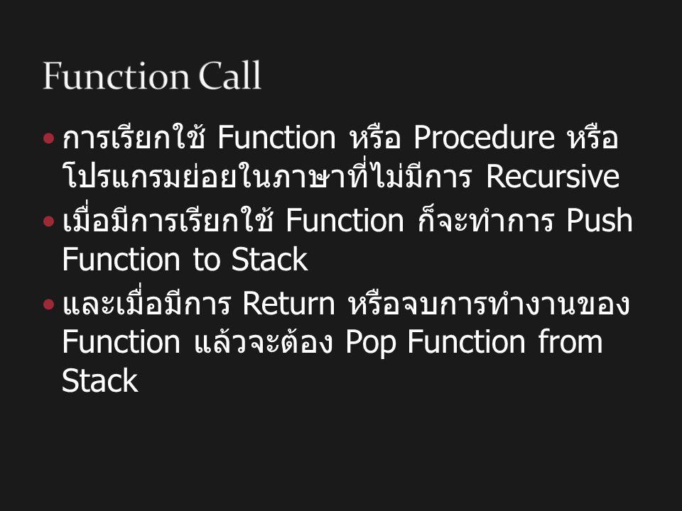 การเรียกใช้ Function หรือ Procedure หรือ โปรแกรมย่อยในภาษาที่ไม่มีการ Recursive เมื่อมีการเรียกใช้ Function ก็จะทำการ Push Function to Stack และเมื่อม