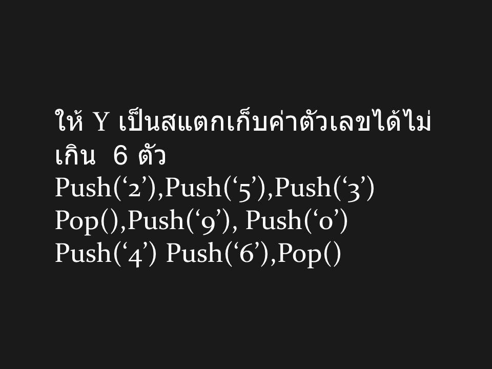 ให้ Y เป็นสแตกเก็บค่าตัวเลขได้ไม่ เกิน 6 ตัว Push('2'),Push('5'),Push('3') Pop(),Push('9'), Push('0') Push('4') Push('6'),Pop()
