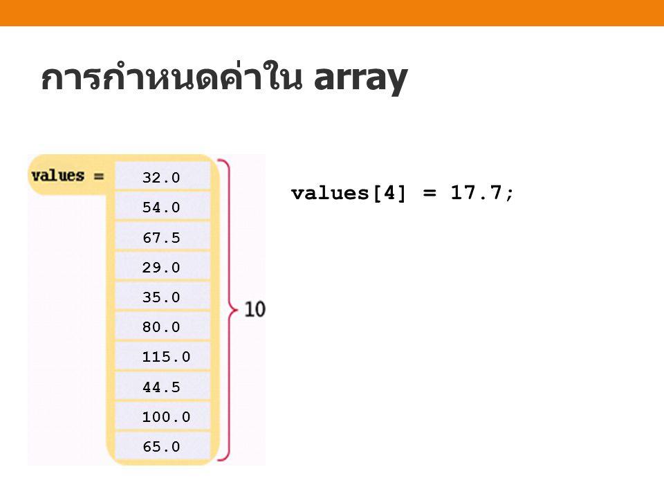 การกำหนดค่าใน array 32.0 54.0 67.5 29.0 17.7 80.0 115.0 44.5 100.0 65.0 values[4] = 17.7;