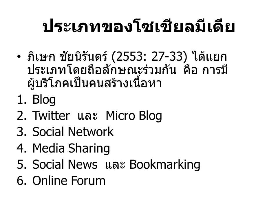 ประเภทของโซเชียลมีเดีย ภิเษก ชัยนิรันดร์ (2553: 27-33) ได้แยก ประเภทโดยถือลักษณะร่วมกัน คือ การมี ผู้บริโภคเป็นคนสร้างเนื้อหา 1.Blog 2.Twitter และ Micro Blog 3.Social Network 4.Media Sharing 5.Social News และ Bookmarking 6.Online Forum