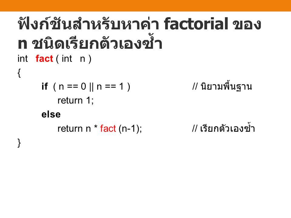 ฟังก์ชันสำหรับหาค่า factorial ของ n ชนิดเรียกตัวเองซ้ำ int fact ( int n ) { if ( n == 0 || n == 1 ) // นิยามพื้นฐาน return 1; else return n * fact (n-