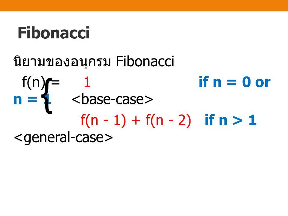 ฟังก์ชันสำหรับหาค่า fibonacci ของ n ชนิดเรียกตัวเองซ้ำ int fib ( int n ) { if ( n == 0 || n == 1 ) // base-case return 1; else return fib (n-1) + fib (n-2);// เรียกตัวเองซ้ำ }