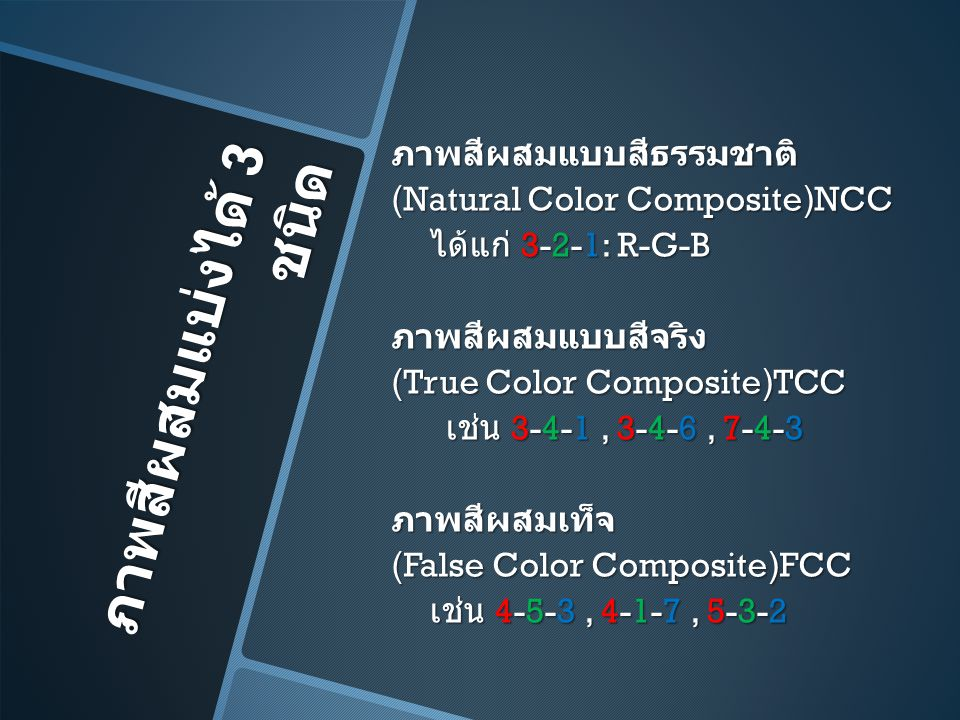 ภาพสีผสมแบ่งได้ 3 ชนิด ภาพสีผสมแบบสีธรรมชาติ (Natural Color Composite)NCC ได้แก่ 3-2-1: R-G-B ภาพสีผสมแบบสีจริง (True Color Composite)TCC เช่น 3-4-1,