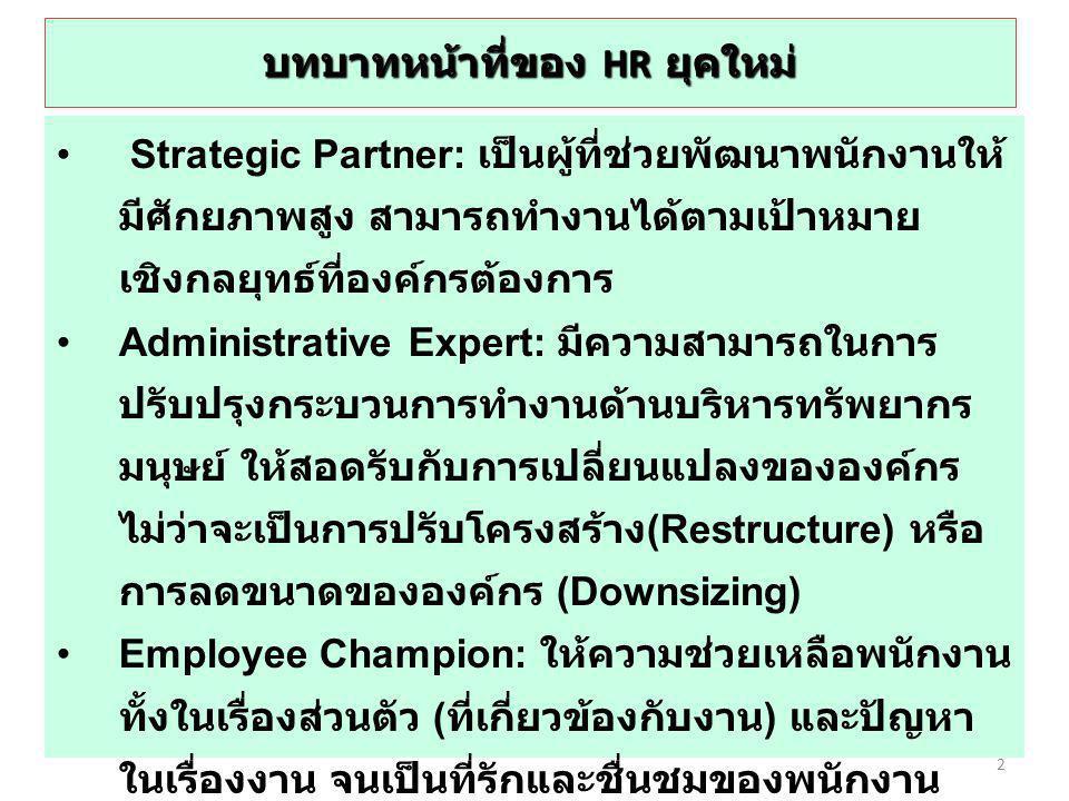 บทบาทหน้าที่ของ HR ยุคใหม่ Strategic Partner: เป็นผู้ที่ช่วยพัฒนาพนักงานให้ มีศักยภาพสูง สามารถทำงานได้ตามเป้าหมาย เชิงกลยุทธ์ที่องค์กรต้องการ Adminis