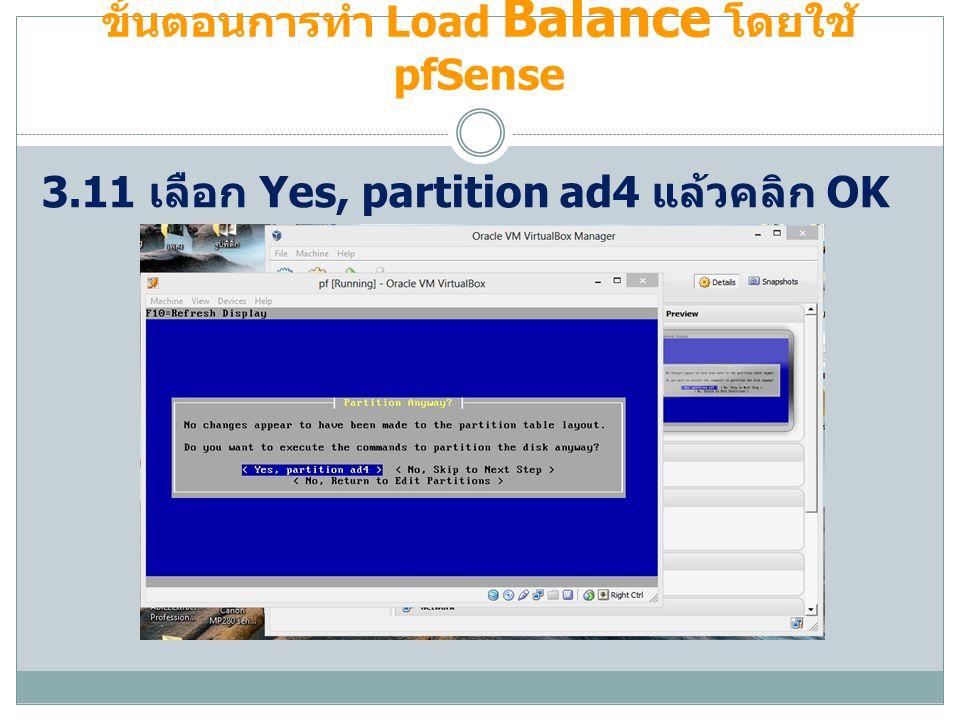 ขั้นตอนการทำ Load Balance โดยใช้ pfSense 3.11 เลือก Yes, partition ad4 แล้วคลิก OK