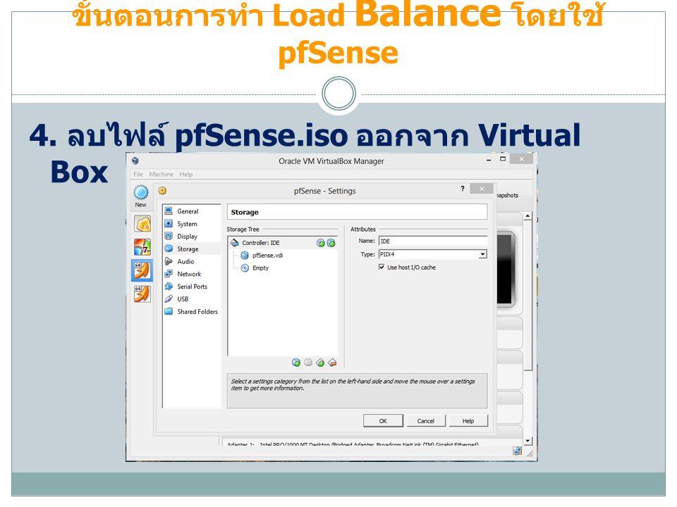 ขั้นตอนการทำ Load Balance โดยใช้ pfSense 4. ลบไฟล์ pfSense.iso ออกจาก Virtual Box