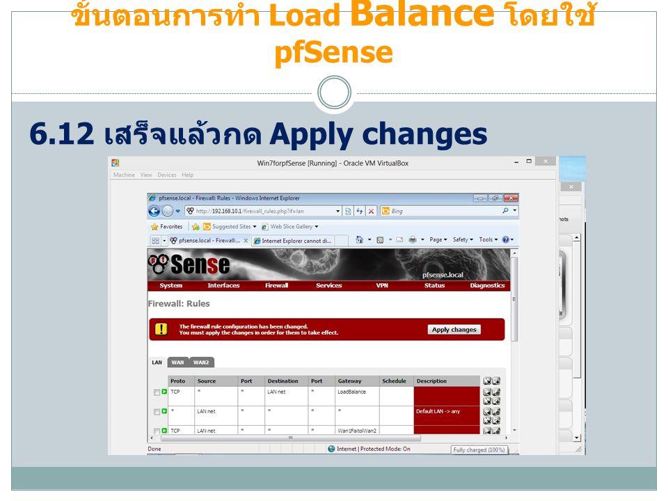 ขั้นตอนการทำ Load Balance โดยใช้ pfSense 6.12 เสร็จแล้วกด Apply changes
