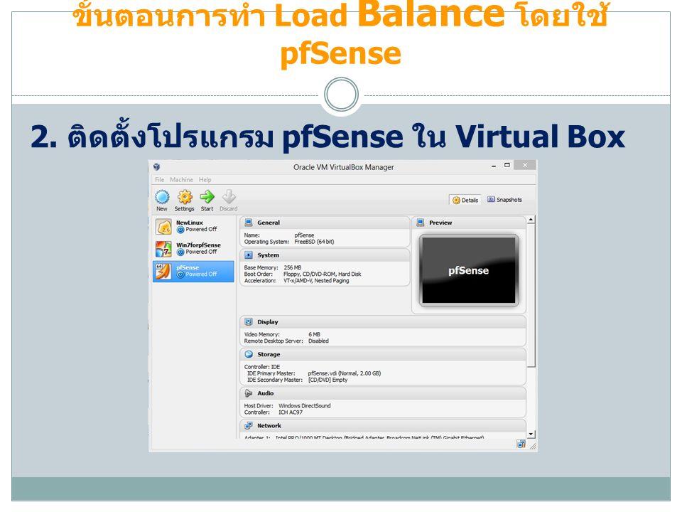 ขั้นตอนการทำ Load Balance โดยใช้ pfSense 2. ติดตั้งโปรแกรม pfSense ใน Virtual Box