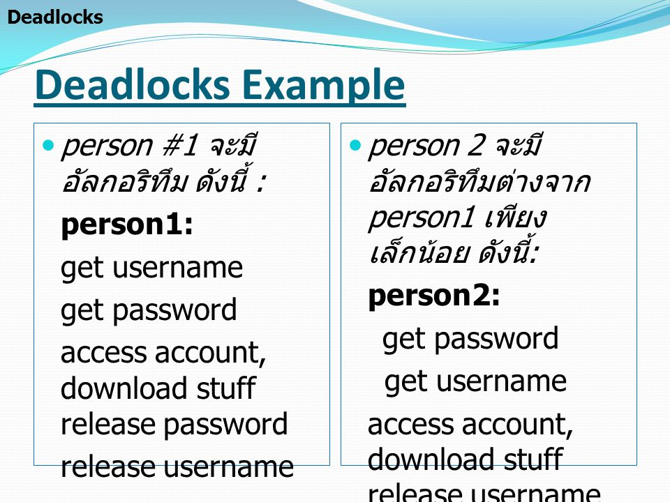 Deadlocks Example person #1 จะมี อัลกอริทึม ดังนี้ : person1: get username get password access account, download stuff release password release userna